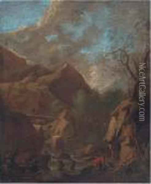 Figures By A Cascade Oil Painting - Salvator Rosa