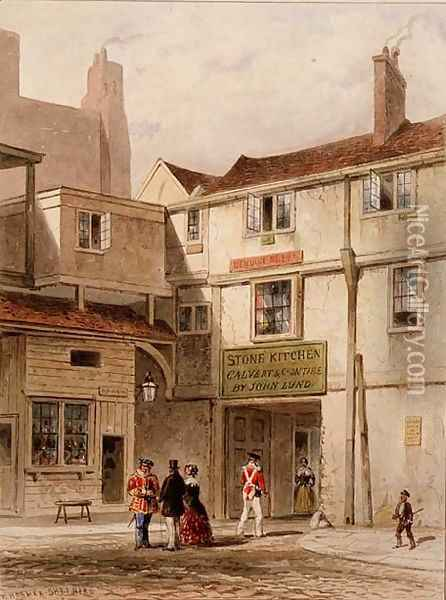 The celebrated canteen in the Tower - called The Stone Kitchen - pulled down 1827 Oil Painting - Thomas Hosmer Shepherd