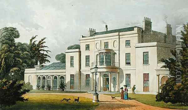 Wimbledon House, from Ackermanns Repository of Arts, published 1826 Oil Painting - Thomas Hosmer Shepherd