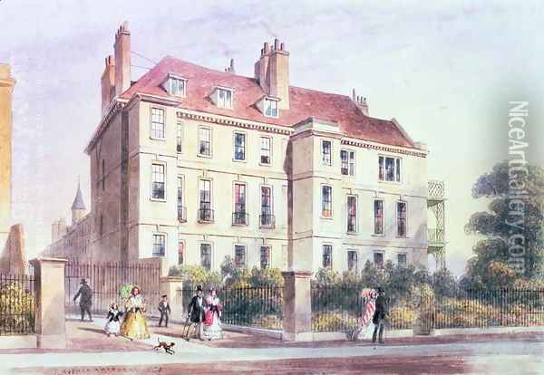 Entrance to Queen Square from the Park, with a view of Jeremy Benthams House, 1851 Oil Painting - Thomas Hosmer Shepherd