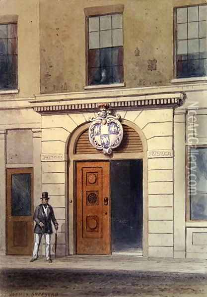 The Entrance to Tallow Chandlers Hall, 19th Oil Painting - Thomas Hosmer Shepherd