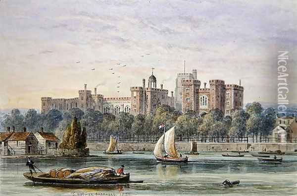 View of Lambeth Palace from the Thames, 1837 Oil Painting - Thomas Hosmer Shepherd