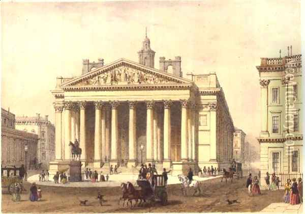 The Royal Exchange, engraved by Charles-Claude Bachelier fl.1830-60, pub. 1854 by E. Gambart and Co. Oil Painting - Thomas Hosmer Shepherd