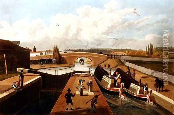 Regents Canal, the East Entrance to the Islington Tunnel, c.1827, engraved by John Cleghorn Oil Painting - Thomas Hosmer Shepherd