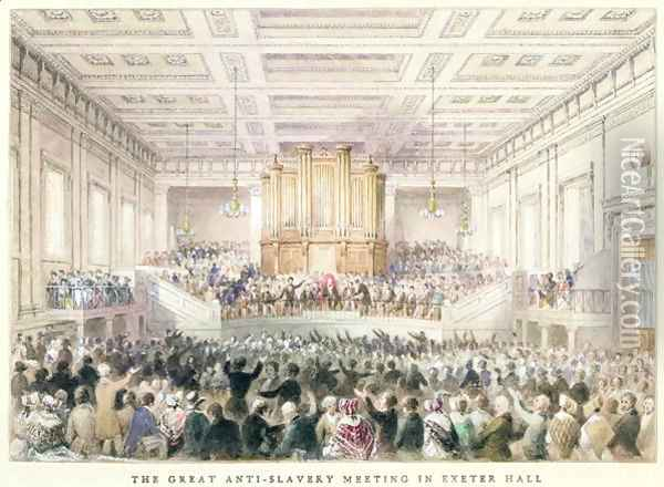 The Great Anti-Slavery Meeting of at Exeter Hall, 1841 Oil Painting - Thomas Hosmer Shepherd