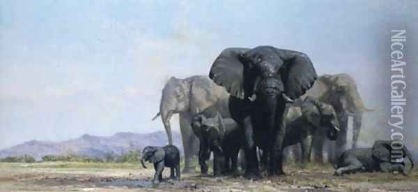A herd of elephants at a watering hole Oil Painting - Thomas Hosmer Shepherd