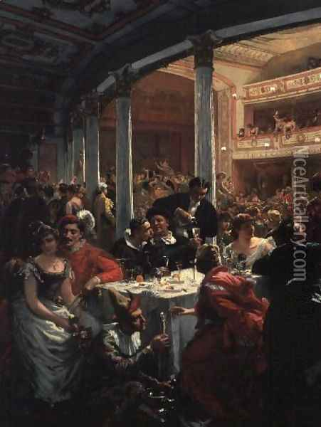 A Masked Ball in a Theatre Oil Painting - Alois Schonn