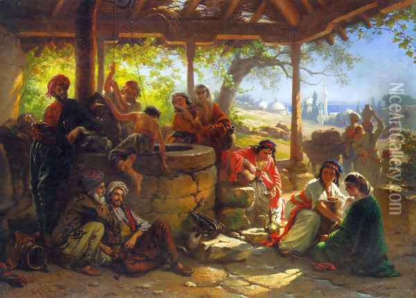 By the Well Oil Painting - Alois Schonn