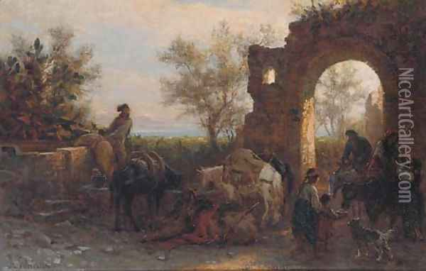 Travellers watering horses at a ruin Oil Painting - Alois Schonn