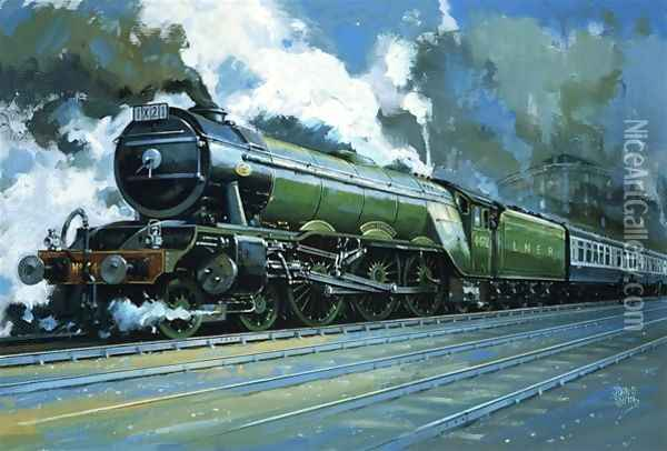 Unidentified steam train Oil Painting - John S. Smith