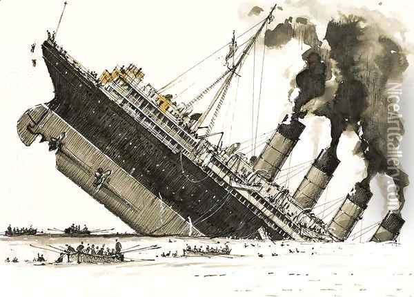 The Great Steamers The sinking of the Lusitania Oil Painting - John S. Smith