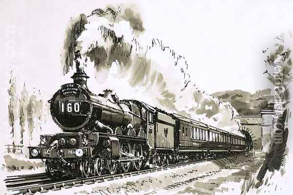 The famous 4-6-0 Castle class of steam locomotives used by Great Western Oil Painting - John S. Smith