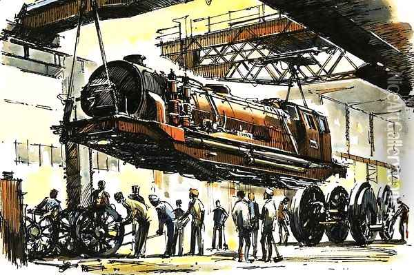 A Beyer-Garratt boiler section lifted clear of the two end units during an overhaul Oil Painting - John S. Smith