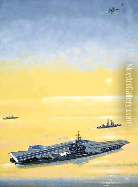 A carrier of the US Midway Class as used on World War II Oil Painting - John S. Smith