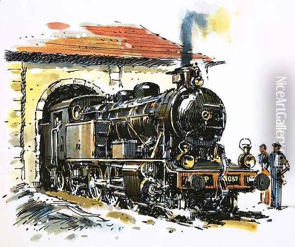 The World of Speed and Power A Honschel constructed 2-6-4 tank locomotive of 1929 vintage Oil Painting - John S. Smith