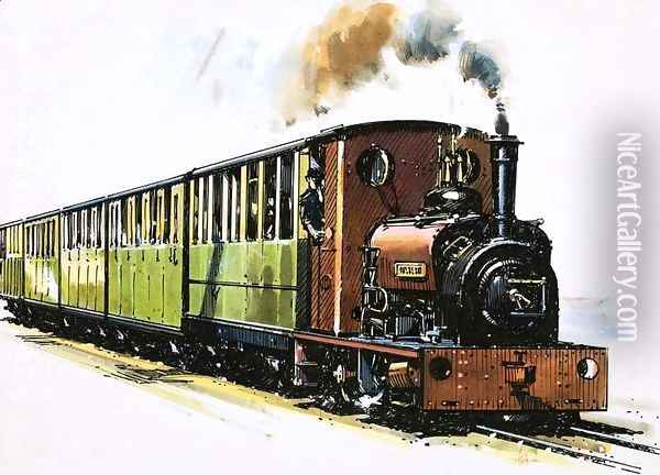 The World of Speed and Power a Hunslet 0-4-0 saddle tank called Dolbadarn Oil Painting - John S. Smith