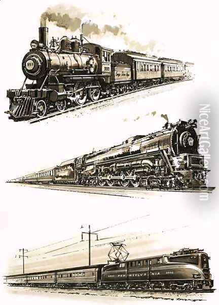 Montage of US trains Oil Painting - John S. Smith