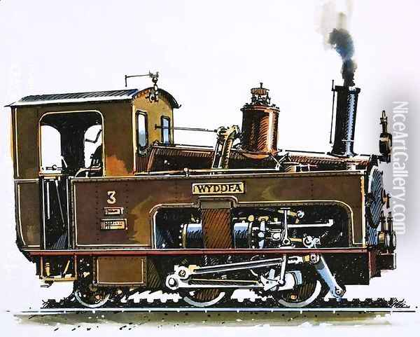 The World of Speed and Power Locomotive of the Snowdon Mountain Railway Oil Painting - John S. Smith
