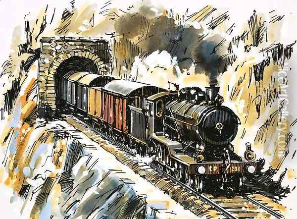 The World of Speed and Power An inside-cylinder 4-6-0 Oil Painting - John S. Smith