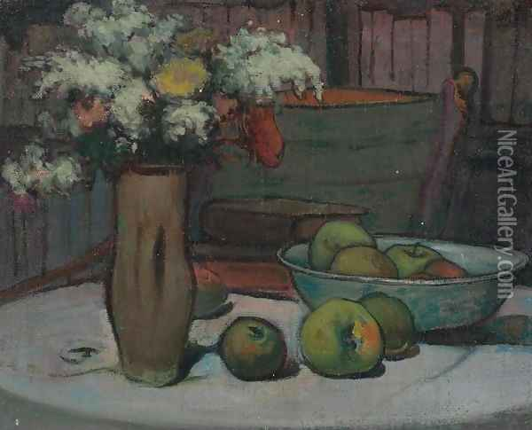 Flowers and Apples on a Round Table Oil Painting - Wladyslaw Slewinski