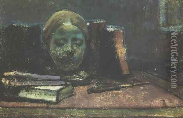 Mask and Books Oil Painting - Wladyslaw Slewinski