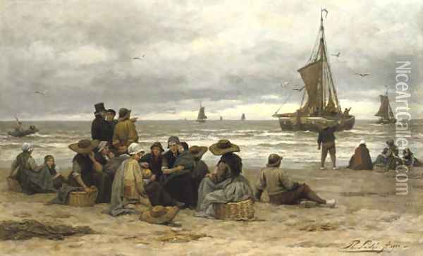 The arrival of the fleet fisher-folk on the beach Oil Painting - Philippe Lodowyck Jacob Sadee