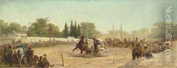 A Horse Race in the Hippodrome before the Mosque of Sultan Ahmet, Constantinople Oil Painting - Adolf Schreyer