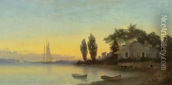 Old House by the River Oil Painting - Francis Augustus Silva