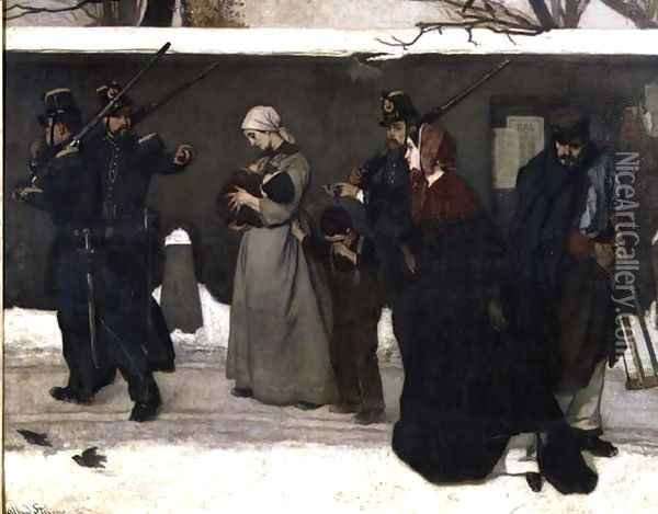 What is Called Vagrancy or, The Hunters of Vincennes, 1854 Oil Painting - Alfred-Emile-Leopole Stevens