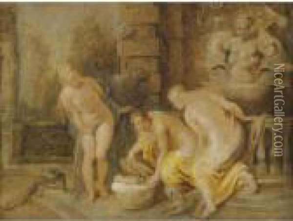 The Discovery Of The Baby Erichthonius By The Daughters Of Cecrops Oil Painting - Peter Paul Rubens