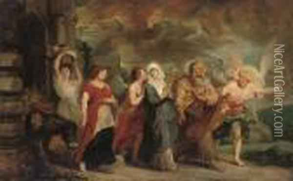Lot And His Daughters Fleeing Sodom And Gomorrah Oil Painting - Peter Paul Rubens