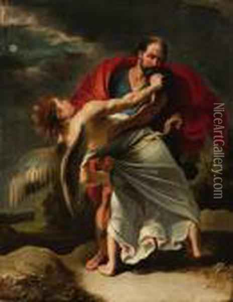 Jacob Wrestling With The Angel Oil Painting - Peter Paul Rubens