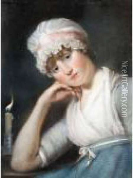 Portrait Of A Young Lady With A Bonnet Oil Painting - John Russell