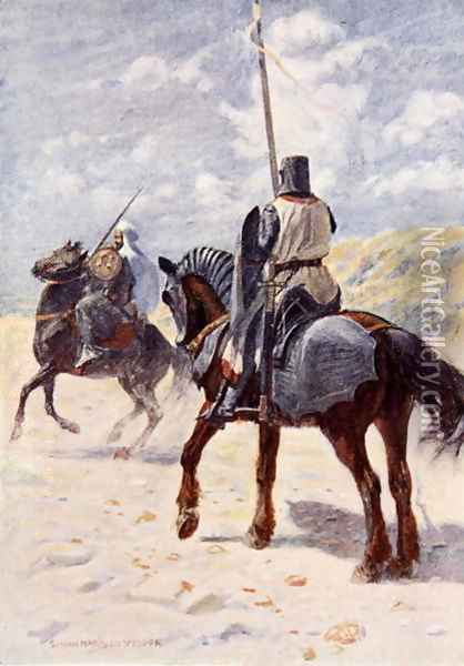 A Saracen approaches a Crusader Knight illustration for The Talisman A Tale of the Crusaders by Sir Walter Scott Oil Painting - Vedder Simon Harmon