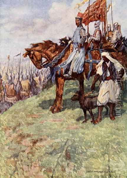The Lionheart seated on horseback, by his side stood the Nubian slave, holding a hound in leash, illustration from The Talisman A Tale of the Crusaders by Sir Walter Scott Oil Painting - Vedder Simon Harmon