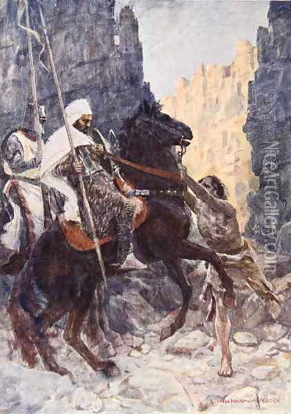 The Scottish knight Sir Kenneth with the Saracen surprised by Hamako as they rode in the Valley of the Shadow of Death illustration for The Talisman A Tale of the Crusaders by Sir Walter Scott Oil Painting - Vedder Simon Harmon