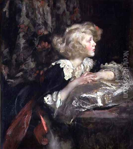Portrait of Lady Diana Manners, later Lady Diana Cooper Oil Painting - James Jebusa Shannon