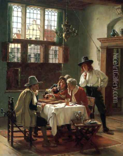 Die Backgammon-Spieler (or The Backgammon Player) Oil Painting - Albert Friedrich Schroder