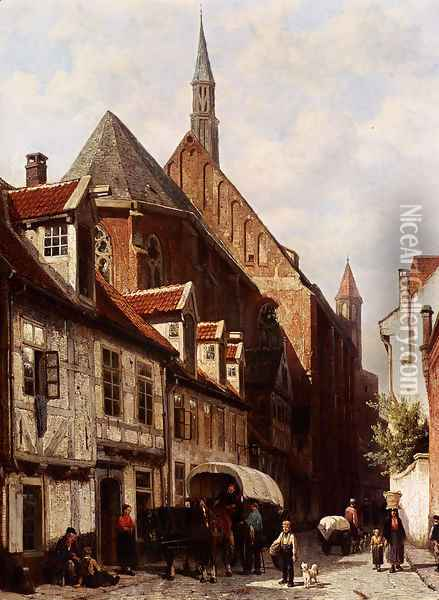 A Busy Street In Bremen With The Saint Johann Church In The Background Oil Painting - Cornelis Springer