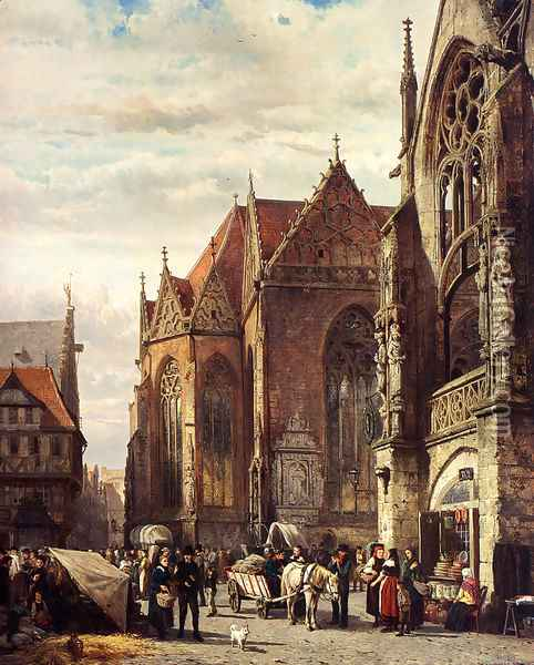 Many Figures On The Market Square In Front Of The Martinikirche, Braunschweig Oil Painting - Cornelis Springer
