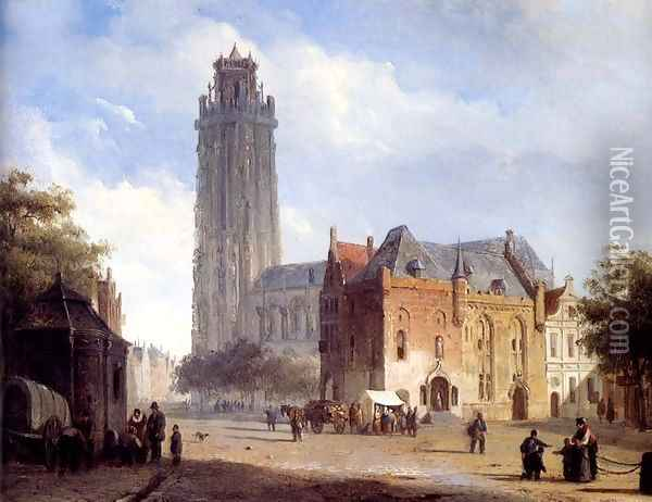 A Cathedral On A Townsquare In Summer Oil Painting - Cornelis Springer