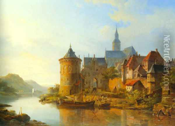 A View of a Town along the Rhine Oil Painting - Cornelis Springer