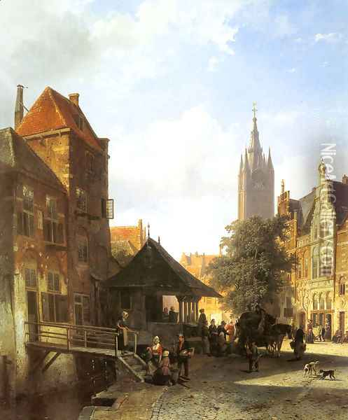 Figures In A Street In Delft Oil Painting - Cornelis Springer