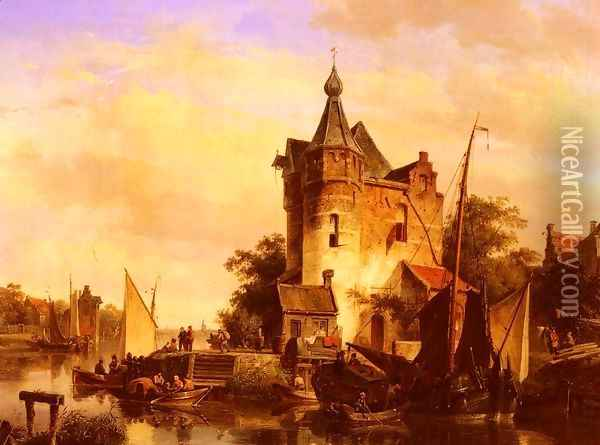 Along The Canal Oil Painting - Cornelis Springer
