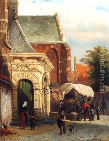 A View Of The South Entrance Of The St. Pancras Church, Enkhuizen Oil Painting - Cornelis Springer