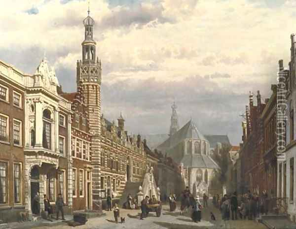 View of the Town Hall and the St. Laurenschurch in Alkmaar 2 Oil Painting - Cornelis Springer