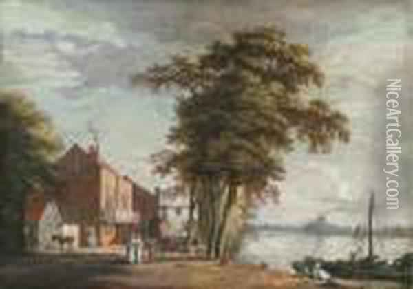 The Spread Eagle Tavern, Millbank Oil Painting - Paul Sandby