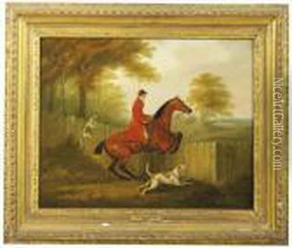 A Huntsman At A Fence With Two Hounds Oil Painting - John Nost Sartorius