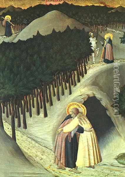 The Meeting of St. Anthony and St. Paul 1445 Oil Painting - Stefano Di Giovanni Sassetta
