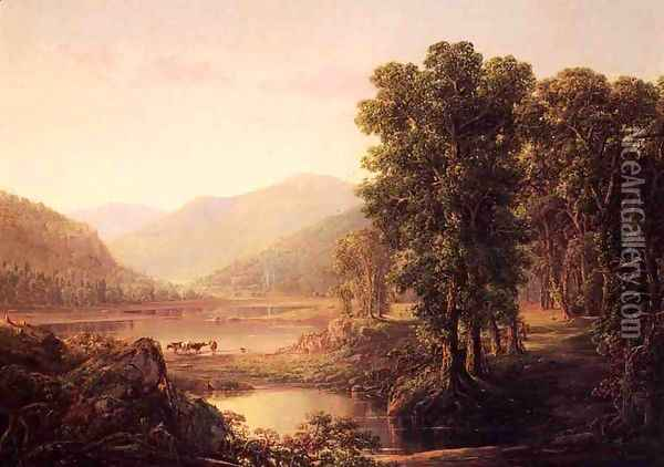 Early Autumn Morning, Western Virginia Oil Painting - William Louis Sonntag